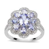 Tanzanite, White Topaz Sterling Silver Ring (Size 10.0) TGW 2.25 cts.