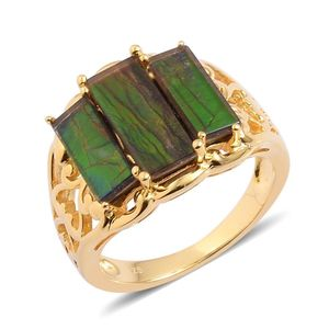 Canadian Ammolite 14K YG Over Sterling Silver 3 Stone Ring (Size 6.0) TGW 4.100 cts.
