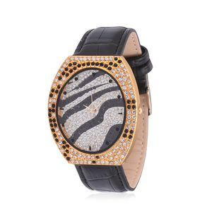 STRADA Austrian Crystal Japanese Movement Zebra Stripes Watch in Goldtone with Black Genuine Leather Band and Stainless Steel Back