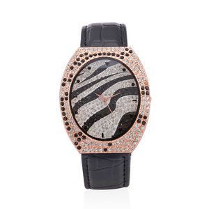 STRADA Austrian Crystal Japanese Movement Zebra Stripes Watch in Rosetone with Black Genuine Leather Band and Stainless Steel Back