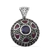 Royal Jaipur Kanchanburi Blue Sapphire, Multi Gemstone Platinum Over Sterling Silver Pendant without Chain Total Gem Stone Weight 8.560 Carat