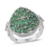 Kagem Zambian Emerald, White Topaz Platinum Over Sterling Silver Split Cluster Statement Ring (Size 7.0) TGW 5.72 cts.
