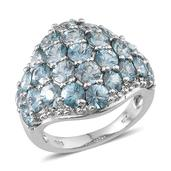 Cambodian Blue Zircon, White Topaz Platinum Over Sterling Silver Ring (Size 8.0) TGW 10.170 cts.