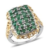 Kagem Zambian Emerald 14K YG and Platinum Over Sterling Silver Ring (Size 6.0) TGW 2.910 cts.