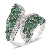 Kagem Zambian Emerald, White Topaz Platinum Over Sterling Silver Ring (Size 9.0) TGW 2.955 cts.