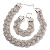 Silvertone Braided Bracelet (8 in) and Necklace (20.00 In)