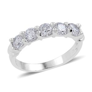 Simulated Diamond Silvertone 5 Stone Ring (Size 9.0) TGW 1.800 cts.