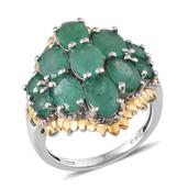 Kagem Zambian Emerald 14K YG and Platinum Over Sterling Silver Ring (Size 8.0) TGW 5.485 cts.