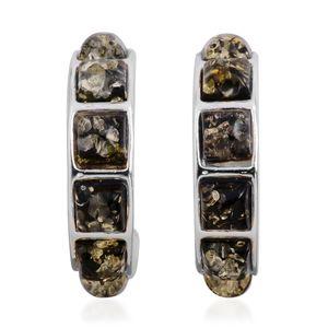 Mayan Green Amber Sterling Silver Hoop Earrings TGW 7.417 cts.