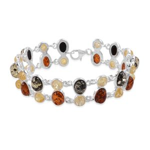 Baltic Multi Color Amber Sterling Silver Bracelet (7.00 In) TGW 23.718 cts.