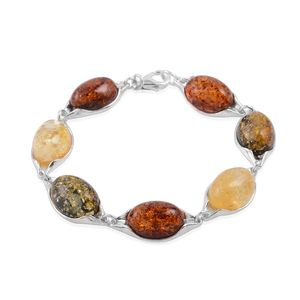Baltic Multi Color Amber Sterling Silver Bracelet (9.50 In)