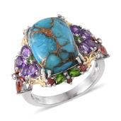 Mojave Blue Turquoise, Amethyst, Russian Diopside, Mozambique Garnet 14K YG and Platinum Over Sterling Silver Ring (Size 8.0) TGW 13.571 cts.