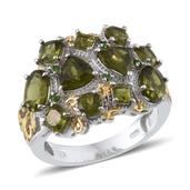 Vesuvianite, Russian Diopside 14K YG and Platinum Over Sterling Silver Ring (Size 6.0) TGW 5.710 cts.