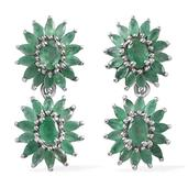 Kagem Zambian Emerald Platinum Over Sterling Silver Earrings TGW 6.630 cts.