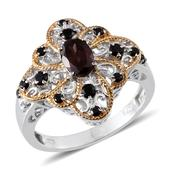 Umba River Zircon, Thai Black Spinel 14K YG and Platinum Over Sterling Silver Ring (Size 7.0) TGW 2.000 cts.