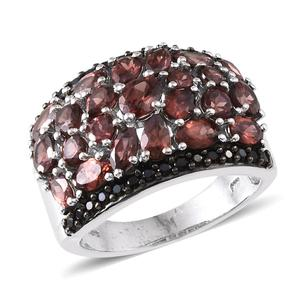Umba River Zircon, Thai Black Spinel Platinum Over Sterling Silver Ring (Size 7.0) TGW 8.07 cts.