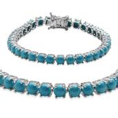 Arizona Sleeping Beauty Turquoise Platinum Over Sterling Silver Blissful Sky Bracelet (7.50 In) TGW 13.65 cts.