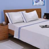 Homesmart Hotel Collection - 300 Thread Count White Sheet Set with Blue Tuxedo Stripes (Queen)