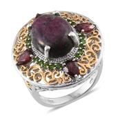 Ruby Zoisite, Orissa Rhodolite Garnet, Russian Diopside 14K YG and Platinum Over Sterling Silver Ring (Size 9.0) TGW 13.550 cts.