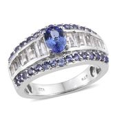 Tanzanite, White Topaz Platinum Over Sterling Silver Ring (Size 9.0) TGW 8.930 cts.
