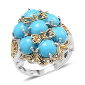 Arizona Sleeping Beauty Turquoise 14K YG and Platinum Over Sterling Silver Fancy Filigree Ring (Size 6.0) TGW 6.500 cts.