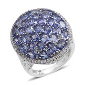 Tanzanite, White Topaz Platinum Over Sterling Silver Cluster Ring (Size 6.0) TGW 8.750 cts.