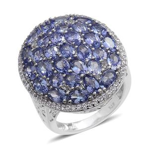 Tanzanite, White Topaz Platinum Over Sterling Silver Cluster Ring (Size 8.0) TGW 8.750 cts.