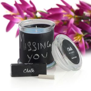 Customizable Chalkboard Scented Candle with Chalk Set Avg Burn Time 38 hours (Sea Salt & Citron)