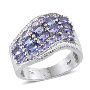 Tanzanite Platinum Over Sterling Silver Ring (Size 8.0) TGW 3.240 cts.