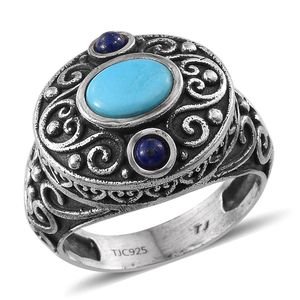Tribal Collection of India Arizona Sleeping Beauty Turquoise, Lapis Lazuli Nature Sterling Silver Inspired Ring (Size 7.0) TGW 1.300 cts.