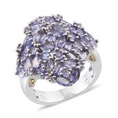 Tanzanite Platinum Over Sterling Silver Cluster Statement Ring (Size 8.0) TGW 6.24 cts.