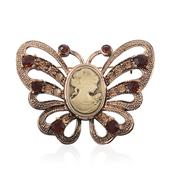 Cameo, Brown and Golden Austrian Crystal Rosetone Butterfly Brooch