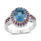 Electric Blue Topaz, Orissa Rhodolite Garnet, White Topaz Platinum Over Sterling Silver Ring (Size 7.0) TGW 5.100 cts.