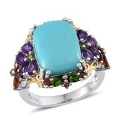 Sonoran Blue Turquoise, Amethyst, Russian Diopside, Mozambique Garnet 14K YG and Platinum Over Sterling Silver Ring (Size 8.0) TGW 10.933 cts.