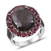 Natural Silver Sapphire, Orissa Rhodolite Garnet, Thai Black Spinel Platinum Over Sterling Silver Ring (Size 7.0) TGW 15.750 cts.