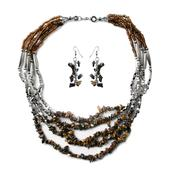 South African Tigers Eye, Brown Seed Bead Stainless Steel Earrings and Necklace (22 in)
