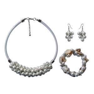 Simulated White Pearl Stainless Steel Bracelet (Stretchable), Earrings and Necklace (18.5 in)