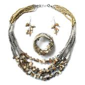 Cream Glass Beads, Shell, Mother of Pearl Bracelet, Earrings and Necklace (24 in) in Stainless Steel
