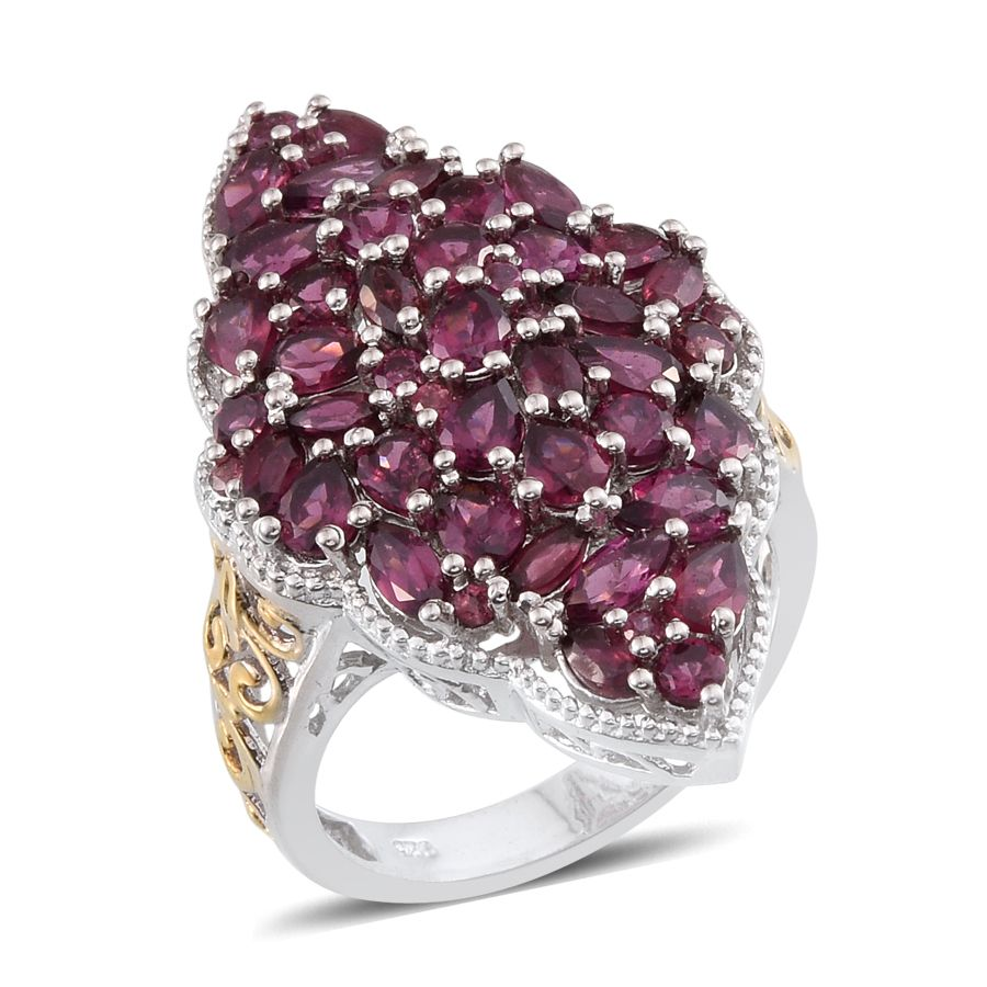 Orissa Rhodolite Garnet 14K YG and Platinum Over Sterling Silver Ring (Size 7.0) TGW 7.183 cts.