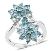 Madagascar Paraiba Apatite Platinum Over Sterling Silver Floral Ring (Size 7.0) TGW 4.85 cts.