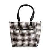 Black and Beige Houndstooth Print Vegan Leather Handbag (14x5x12 in)