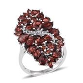 Mozambique Garnet, White Topaz Platinum Over Sterling Silver Elongated Ring (Size 7.0) TGW 9.280 cts.
