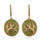 Treasures from the Orient Russian Diopside 14K YG Over Sterling Silver Round Tree Engraved Lever Back Earrings TGW 2.45 Cts.