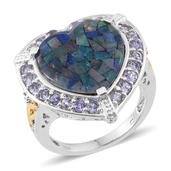 Australian Mosaic Opal, Tanzanite 14K YG and Platinum Over Sterling Silver Ring (Size 9.0) TGW 8.650 cts.
