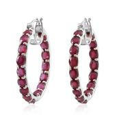 Niassa Ruby Platinum Over Sterling Silver Inside Out Hoop Earrings TGW 16.000 cts.