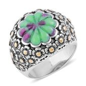 Ruby Zoisite ION Plated YG and Stainless Steel Engraved Floral Bushel Ring (Size 9.0) TGW 6.95 cts.