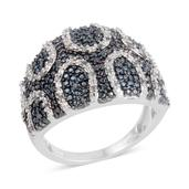 Blue Diamond (IR), Diamond Platinum Over Sterling Silver Ring (Size 9.5) TDiaWt 0.50 cts, TGW 0.500 cts.