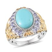 Sonoran Blue Turquoise, Tanzanite 14K YG and Platinum Over Sterling Silver Ring (Size 7.0) TGW 5.60 cts.