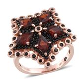 GP Mozambique Garnet, Multi Gemstone 14K RG Over Sterling Silver Ring (Size 9.0) TGW 5.100 cts.