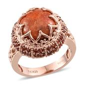Treasures from the Orient Sponge Coral, Mozambique Garnet 14K RG Over Sterling Silver Ring (Size 10.0) TGW 7.83 cts.